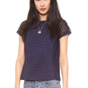 Madewell Eyelet Hideaway Top Navy Small